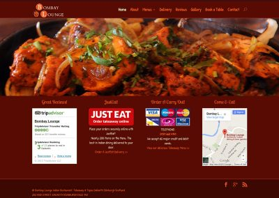 Bombay Lounge Indian Restaurant Web Design Dalkeith Edinburgh