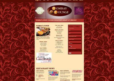 BombayLounge indian Restaurant Web Design Edinburgh