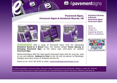E4PavementSigns ecommerce Web Design Edinburgh