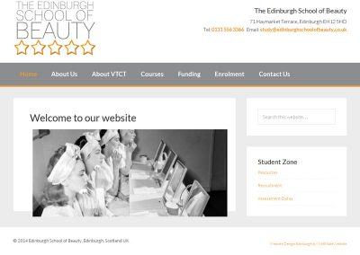 Edinbugh-School-of-Beauty- School Web Design Edinburgh