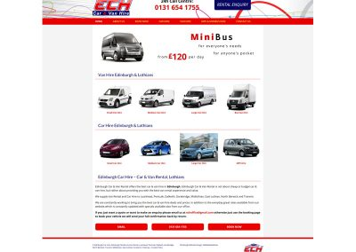 Edinburgh-Car-Van-Hire Web Design Edinburgh
