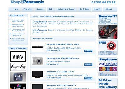 Living Panasonichifi ecommerce Web Design Edinburgh