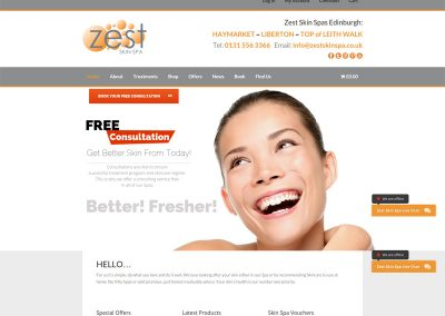 Zest-Skin-Spa-Beauty-Salon Web Design Edinburgh